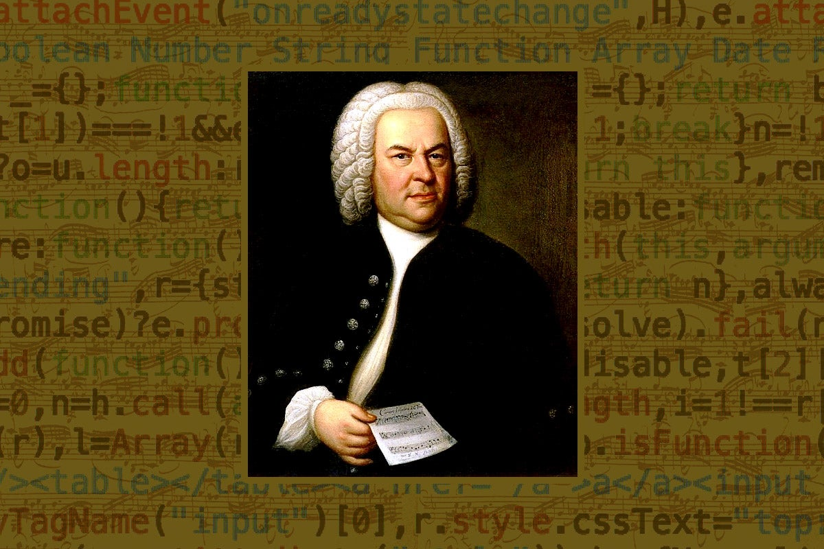 Photo illustration of a Johann Sebastian Bach portrait with a background of computer code.