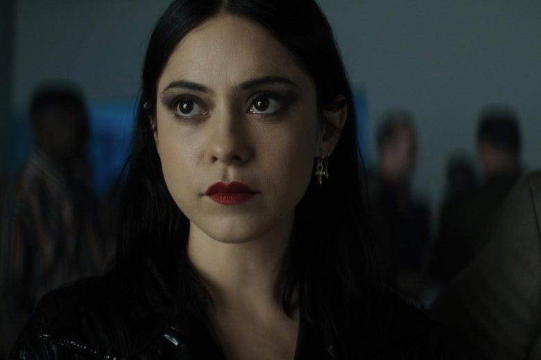 Rosa Salazar in killer red lipstick.