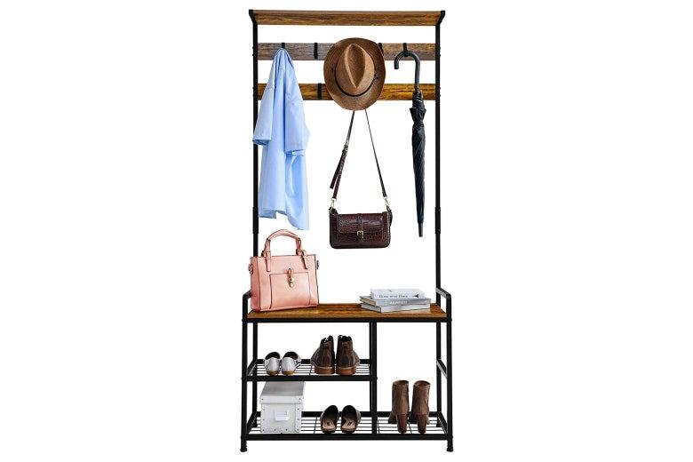 Combination coat rack, storage shelf, and shoe bench