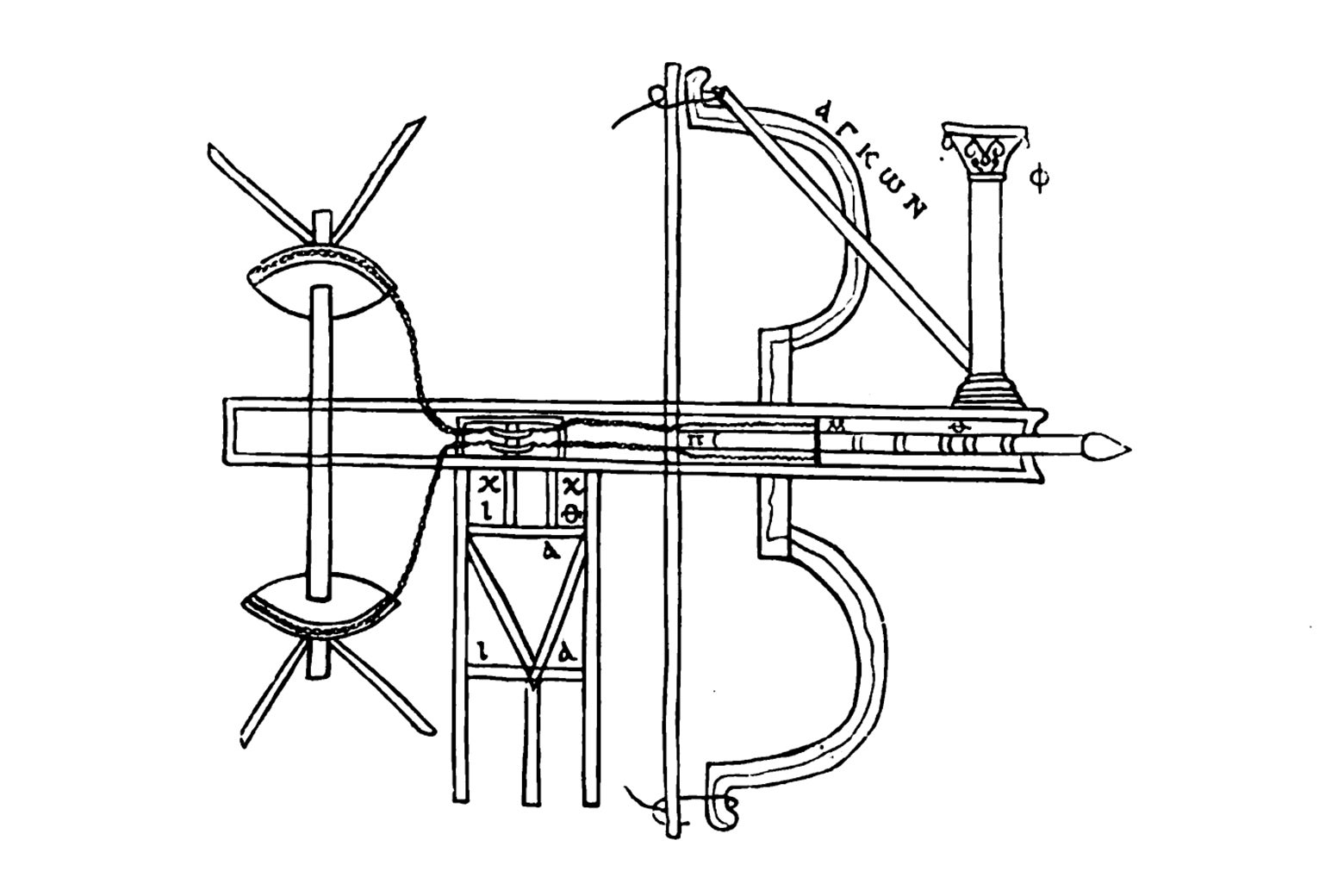 Illustrated overhead view of an oxybeles.