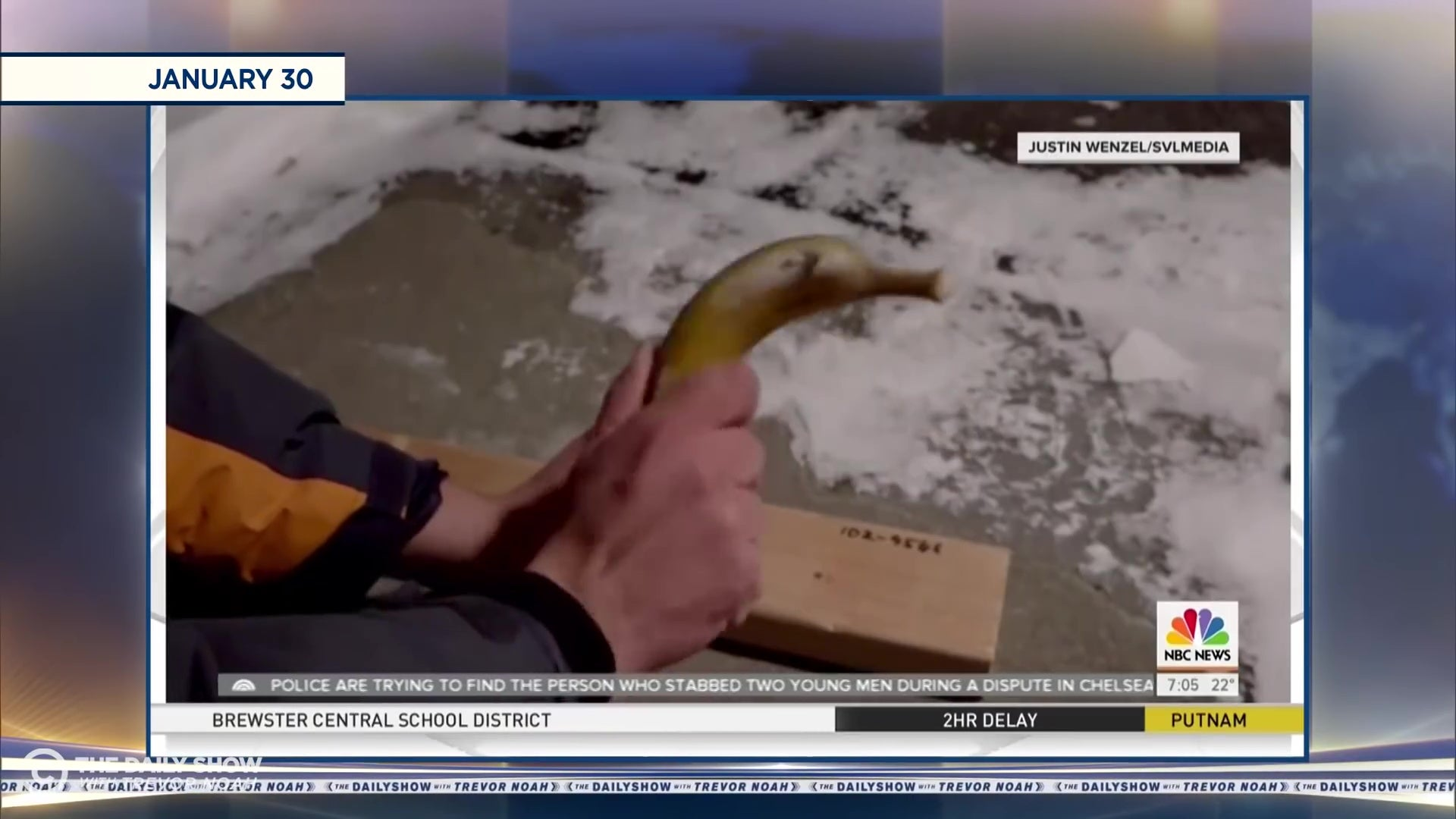 A banana being used as a hammer.