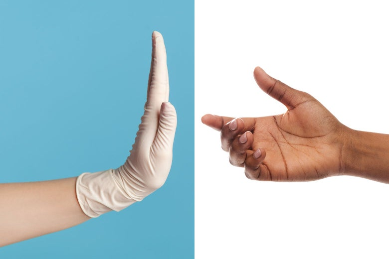 A gloved white hand denies a stretched-out Black hand.