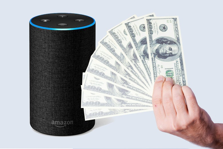 An Amazon Echo and a man flashing a wad of cash at it.