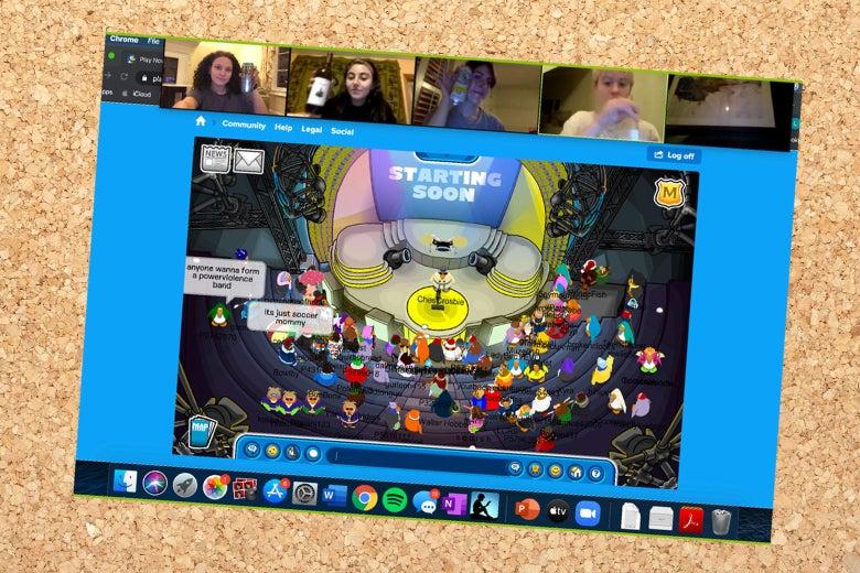A screengrab of a concert at Club Penguin.