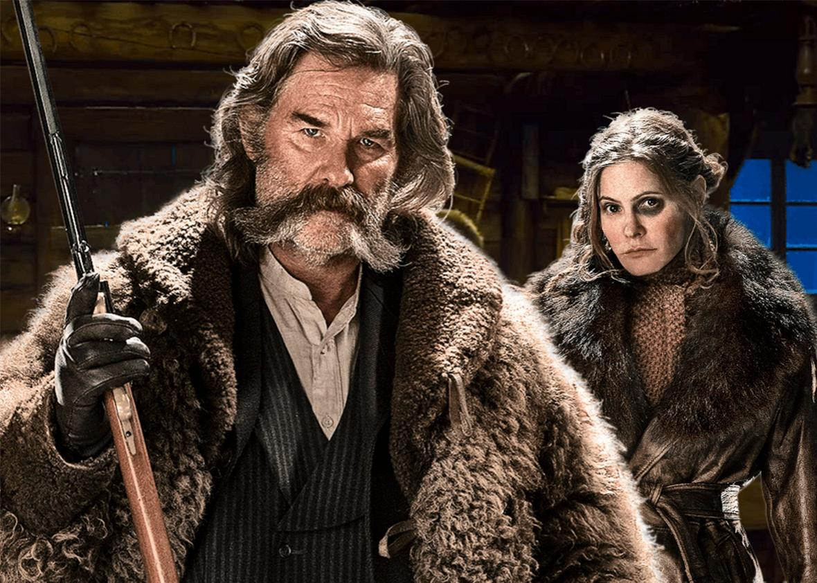 Kurt Russell and Jennifer Jason Leigh in The Hateful Eight.