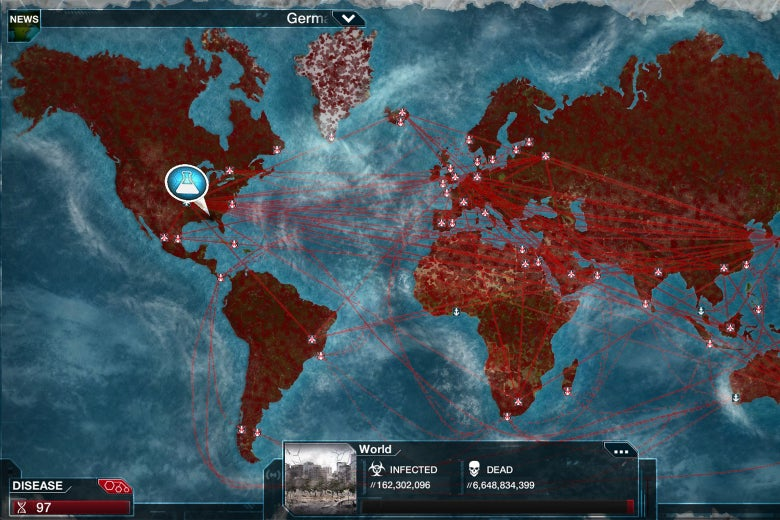 A screenshot from Pandemic Inc. shows a map of the world with lines going from country to country, indicating the spread of the virus. A title card shows that more than 162 million are infected and more than 6 billion dead.