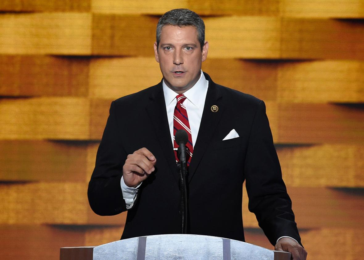 US Representative Tim Ryan of Ohio addresses delegates on fourth and final day of the Democratic National Convention at Wells Fargo Center on July 28, 2016 in Philadelphia, Pennsylvania.