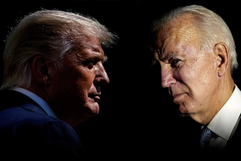 Side profile views of Donald Trump and Joe Biden looking at each other.