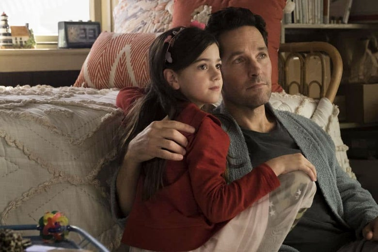 Abby Ryder Fortson and Paul Rudd in Ant-Man.