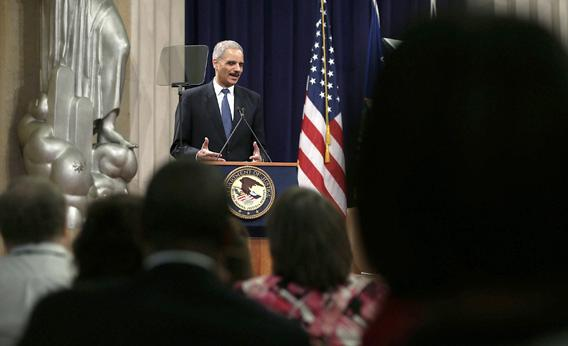 U.S. Attorney General Eric Holder speaks during a Justice Department's Law Day event May 1, 2013 at the Justice Department in Washington, DC.