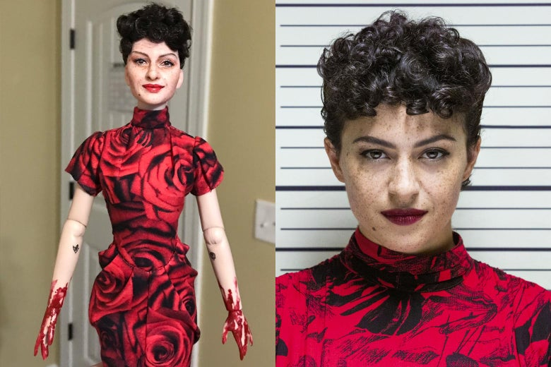 Alia Shawkat's Search Party character side by side with her doll counterpart, which has bloody hands.