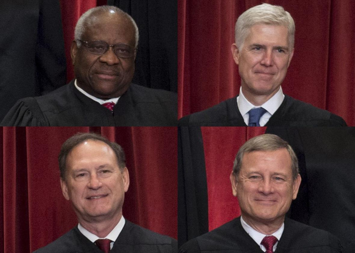 Justices of the US Supreme Court sit for their official group photo