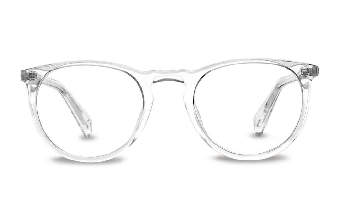 Warby Parker translucent eyeglasses.