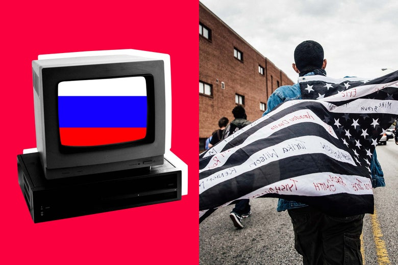 Computer terminal with Russian flag on screen, Protesters march through the streets in support of Maryland state attorney Marilyn Mosby's announcement that charges would be filed against Baltimore police officers in the death of Freddie Gray on May 1, 2015 in Baltimore, Maryland.