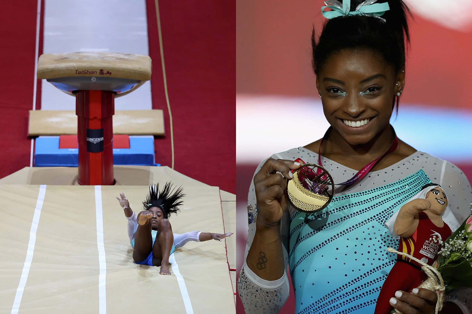 Simone Biles falling, Biles holding her gold medal