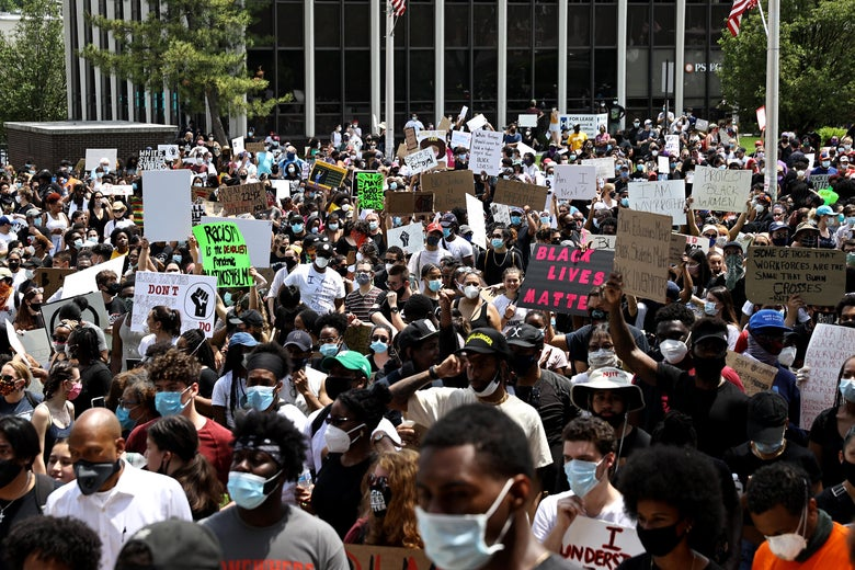 Thousands of community members gathered during a Black Lives Matter protest at the Municipal Building on June 6, 2020 in West Orange, New Jersey.