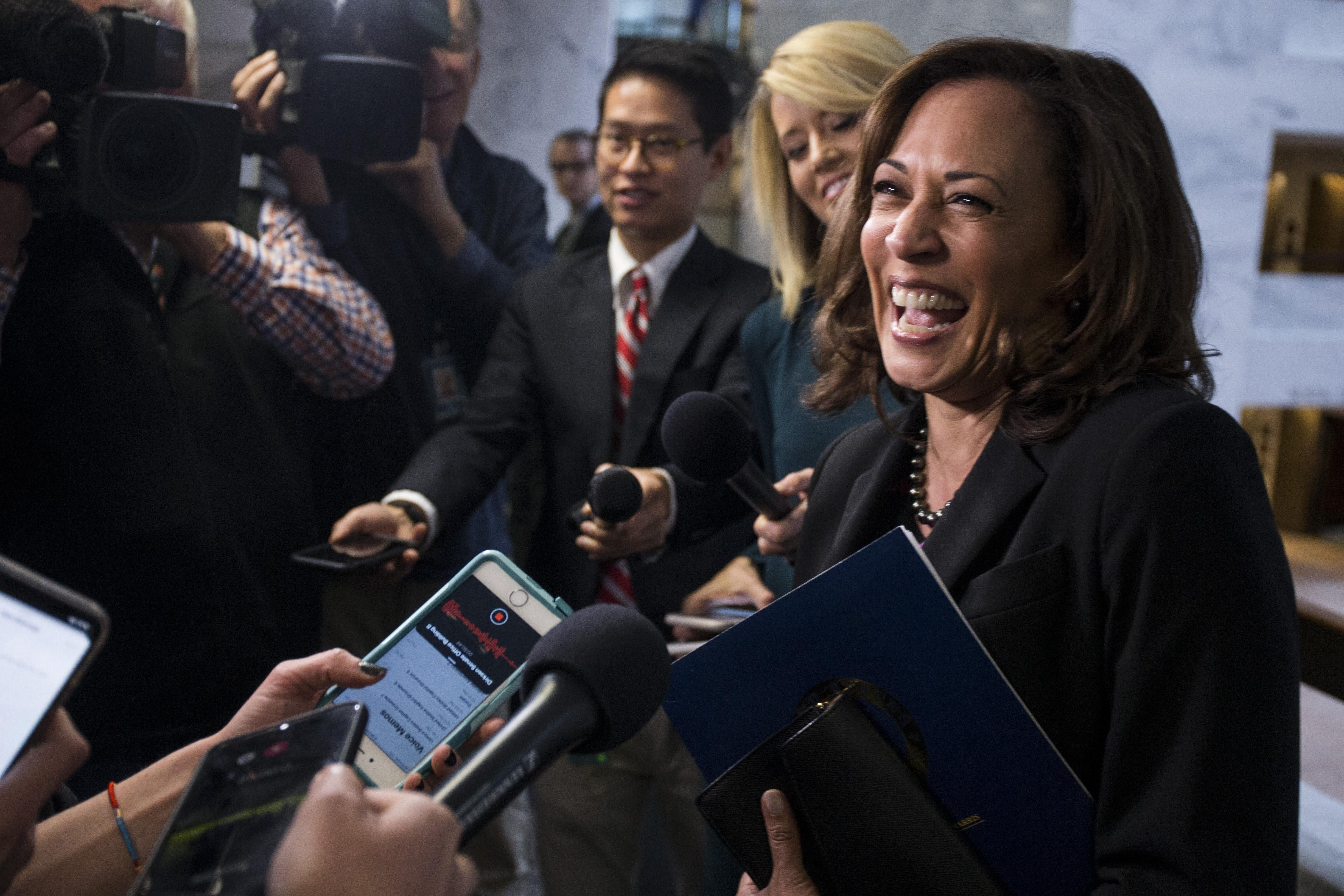 Sen. Kamala Harris (D-CA) speaks to reporters following a closed briefing on intelligence matters on Capitol Hill on December 4, 2018 in Washington, D.C.