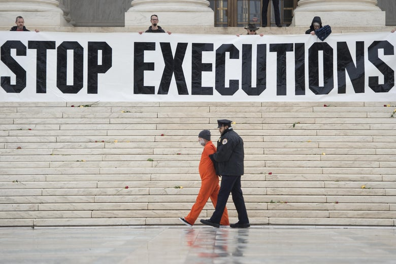 A police officer marches a man in an orange jumpsuit away from the building. Above, on the Supreme Court steps, protesters stand behind a banner that reads STOP EXECUTIONS.