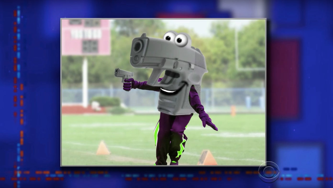 Gunny the Gun-Toting Gun, a school mascot dressed like a gun.