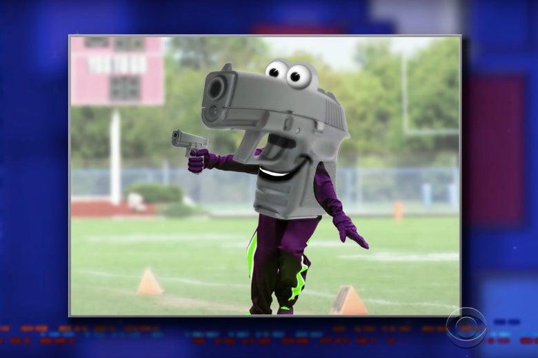 Gunny the Gun-Toting Gun, a school mascot dressed like a gun.