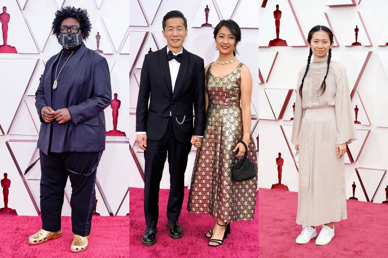 Questlove; Lee Isaac Chung and Valerie Chung; and Chloé Zhao pose on the red carpet.