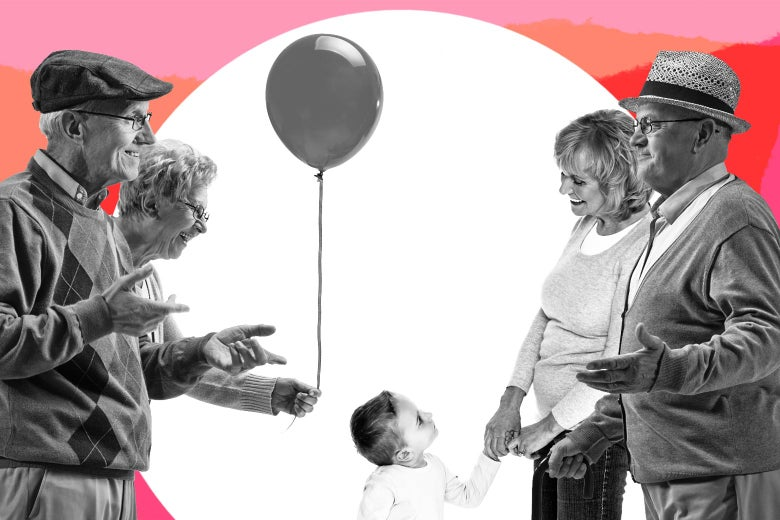 One set of grandparents holding a balloon, facing another set of grandparents holding a child's hand and shrugging.