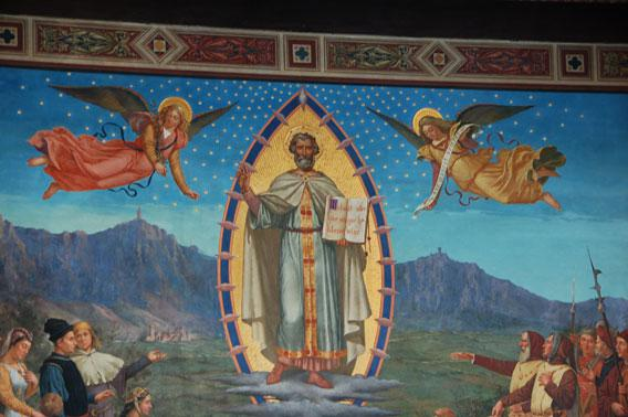 "A detail of Emilio Retrosi's ""Apparition of Saint Marinus to His People"" in the Chamber of the Great and General Council."