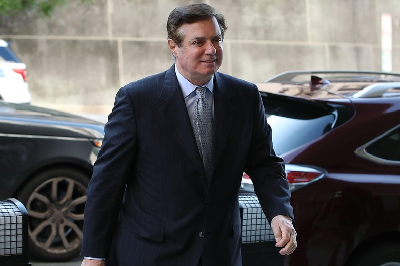 Former Trump campaign manager Paul Manafort arrives for a hearing on May 23, 2018 in Washington, DC.