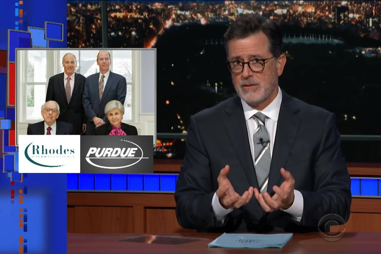 Stephen Colbert, in front of a picture of the Sackler family, plus the logos for Purdue Pharma and Rhodes Pharma.