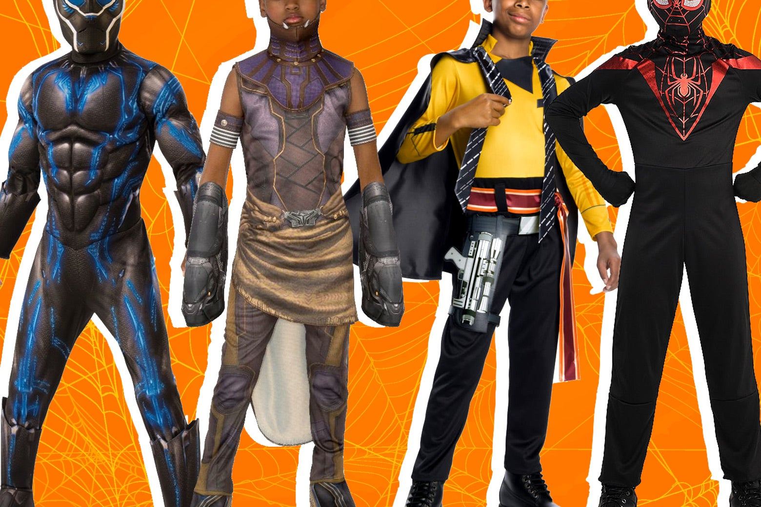 Black Panther, Shuri, Lando Calrissian, and Miles Morales children's costumes for Halloween.