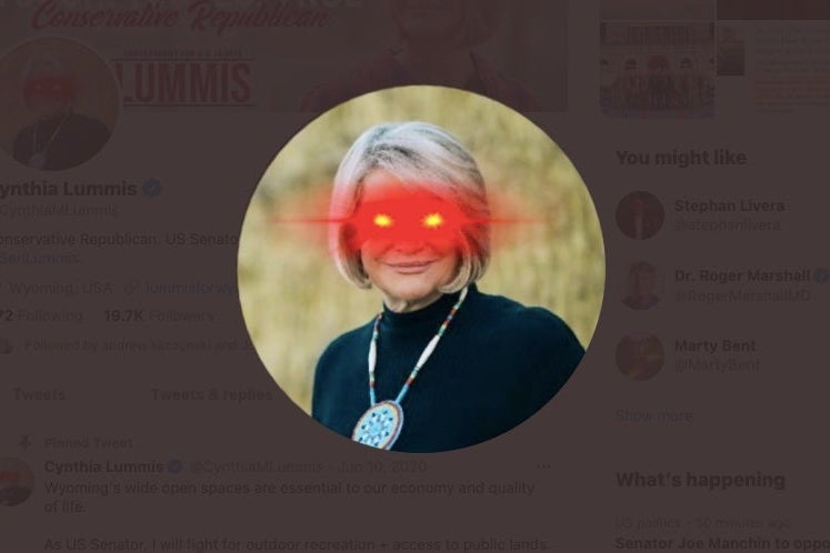 Cynthia Lummis' Twitter profile picture with laser eyes.