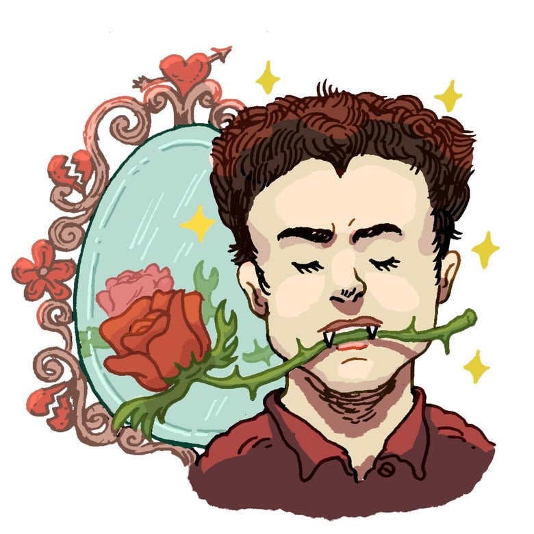 Illustration of Edward Cullen with a rose in his teeth.