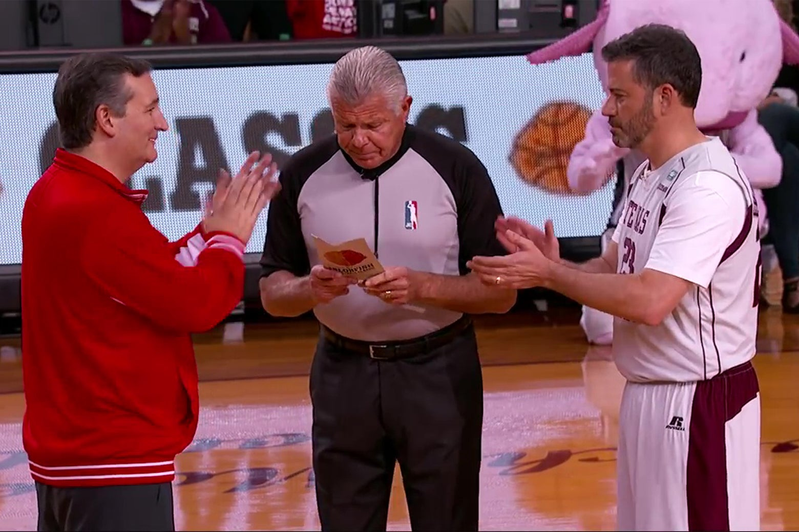 Want to Spend 16 Minutes and 37 Seconds of Your Precious Life Watching Jimmy Kimmel and Ted Cruz Play Basketball?