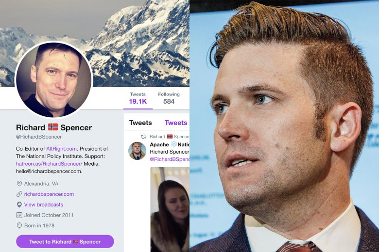 Richard Spencer's Twitter page and Richard Spencer.