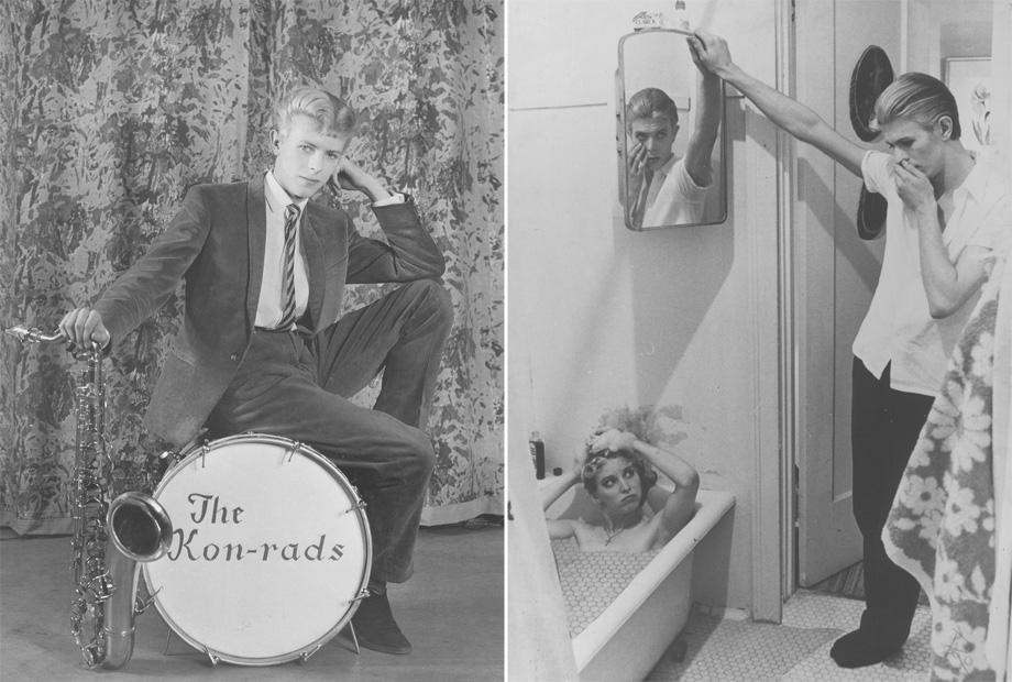 (L) Publicity photograph for The Kon-rads, 1966, (R) Photo-collage of manipulated film stills from The Man Who Fell to Earth, 1975–6.