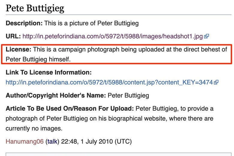 "A screenshot in which Hanumang06 asserts that the photograph is being uploaded ""at the direct behest of Peter Buttigieg himself."""