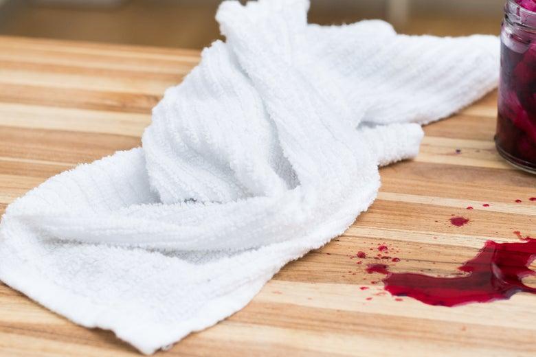 Towel near a spill