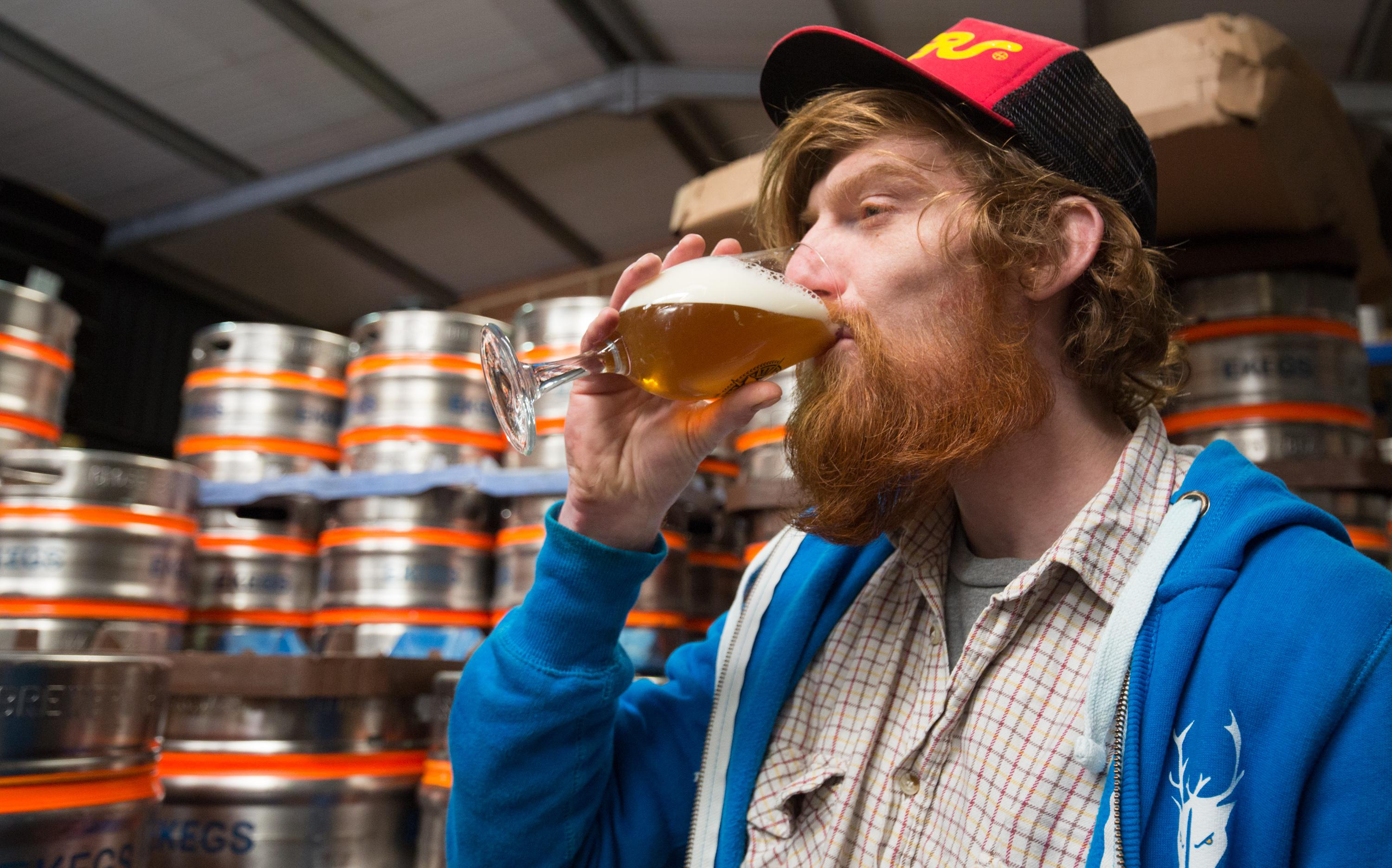 James Bardgett checks the quality of beer before filling up kegs and barrels to be dispatched at the Wild Beer Co brewery at Lower Westcombe Farm on February 11, 2016 near Evercreech, England.