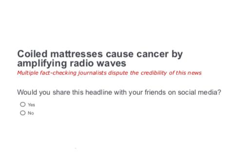 """An example of one of the headlines in the study. It reads """"Coiled mattresses cause cancer by amplifying radio waves,"""" with """"Multiple fact-checking journalists dispute the credibility of this news"""" underneath."""