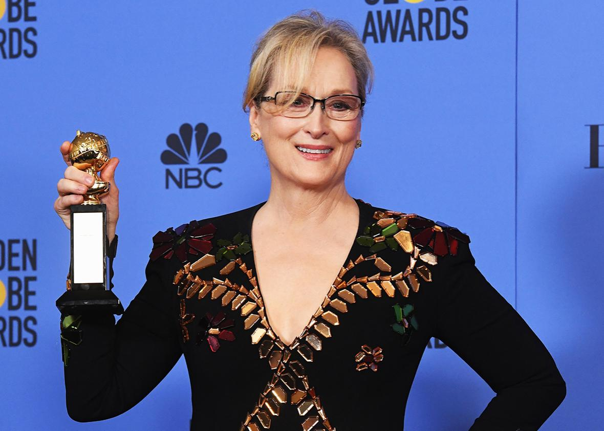 Actress Meryl Streep, recipient of the Cecil B. DeMille Award, poses in the press room during the 74th Annual Golden Globe Awards at The Beverly Hilton Hotel on January 8, 2017 in Beverly Hills, California.