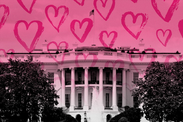 The White House with a pink overlay of hearts.