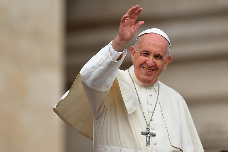 Pope Francis waves during a weekly general audience at St Peter's square on April 11, 2018 in Vatican. / AFP PHOTO / TIZIANA FABI        (Photo credit should read TIZIANA FABI/AFP/Getty Images)