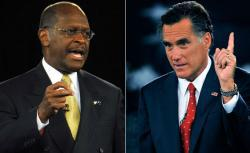 GOP Presidential candidates and businessman Herman Cain and former Massachusetts Governor Mitt Romney.