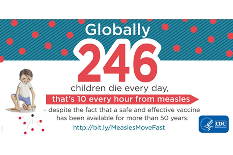 An infographic showing the number of child deaths a day from measles.