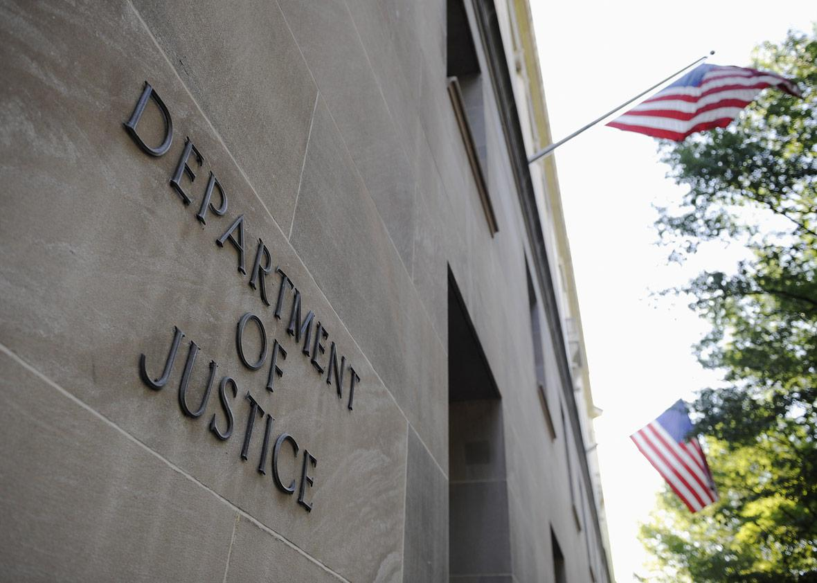 The exterior of the U.S. Department of Justice headquarters building in Washington, July 14, 2009.
