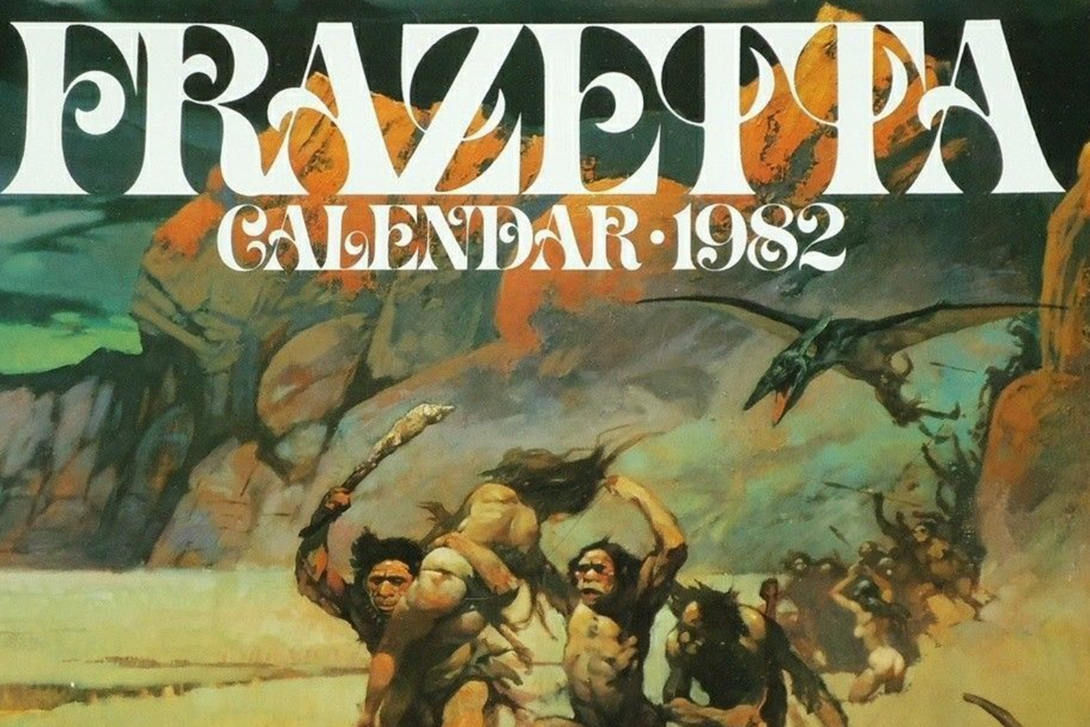 The cover of the 1982 Frank Frazetta calendar, with a pack of cavemen carrying off a woman.