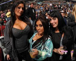 Television personalities Jenni 'JWoww' Farley, Nicole 'Snooki' Polizzi and Angelina 'Jolie' Pivarnick from the television show 'Jersey Shore'.