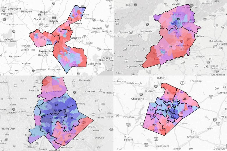 Maps of gerrymandered North Carolina districts. There are four images: From top left, three districts near Fayetteville; top right, two districts encompassing areas near Asheville; bottom right contains districts surrounding Raleigh; and bottom left contains several districts surrounding Charlotte.