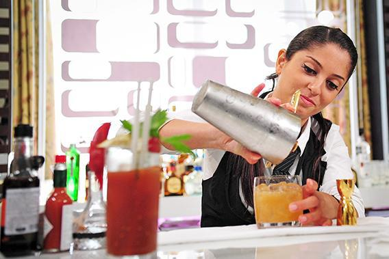 Bartender Varia Dellalian, representing Lebanon, competes in the Diageo Reserve World Class Global Final cocktail competition on July 10, 2012 in Rio de Janeiro, Brazil.
