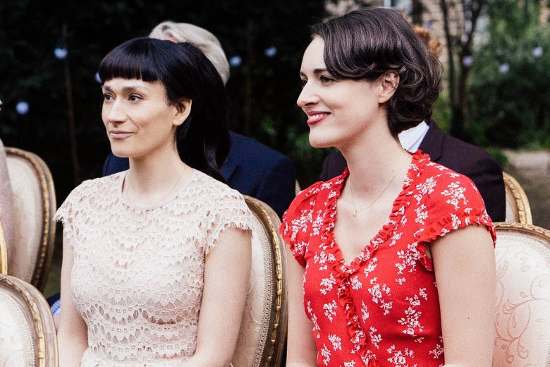 Sian Clifford as Claire and Phoebe Waller-Bridge as Fleabag in Fleabag.